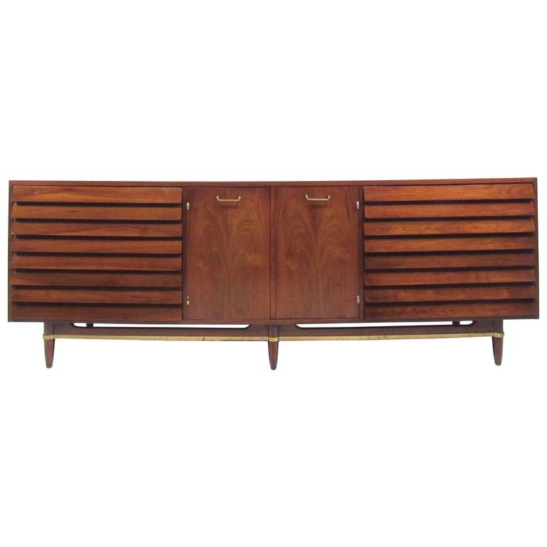 Mid century modern louvered front walnut dresser by for Mid century american furniture