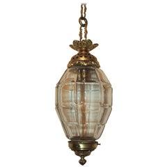 Wonderful Gilt Bronze Filigree Beveled Panel Glass Lantern Fixture Pendent Light