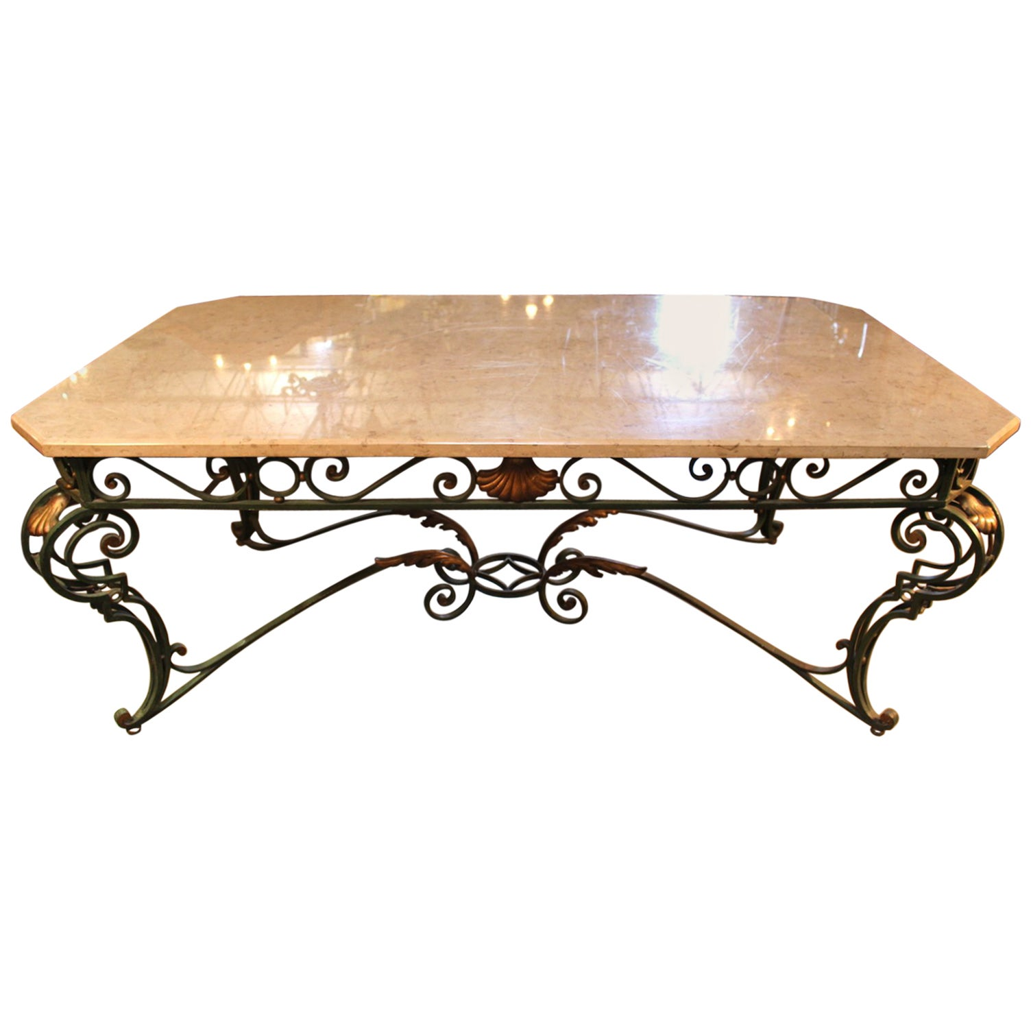 French Louis XV Style Iron and Marble Dining Table