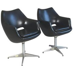Pair of Danish 1970s Mid-Century Swivel Office Chairs in Black Vinyl