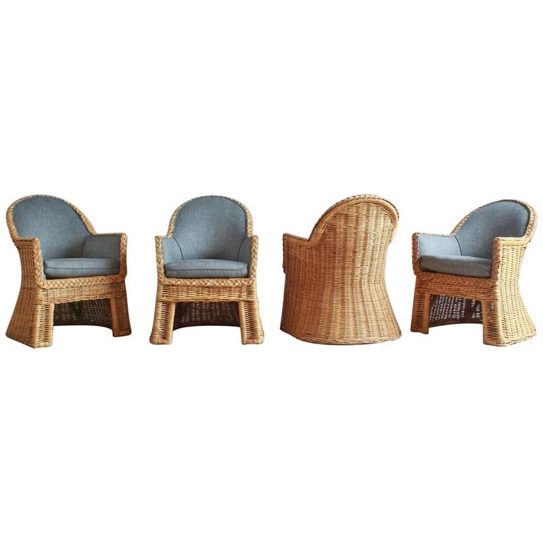 Set of Four Oversized Wicker Dining Chairs Upholstered in Reverse Denim For Sale