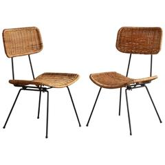 Rattan and Iron Side Chair