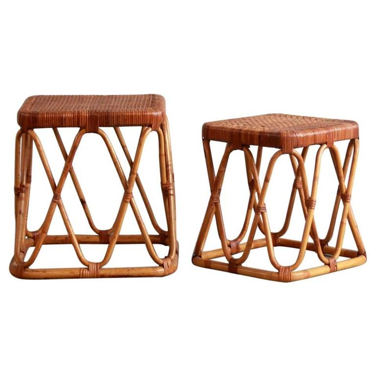 Pair of Square Wicker Nesting Tables For Sale