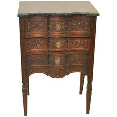 Antique Three-Drawer Carved Walnut Italian Stand with Marble Top