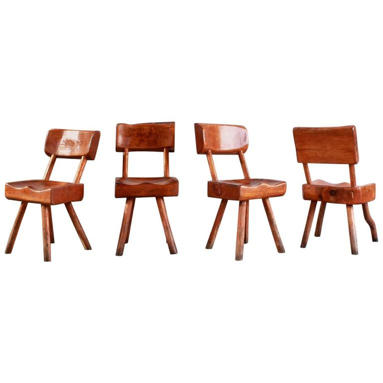 Set of Four Rustic Log Chairs For Sale