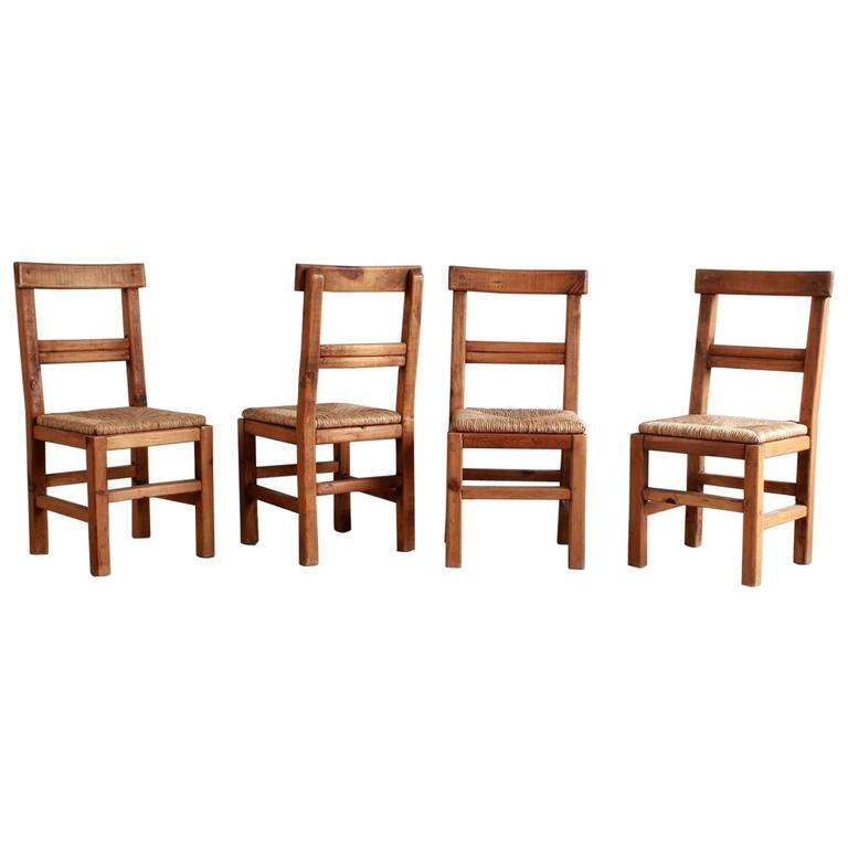 Set of Four French Dining Chairs with Rush Seat For Sale