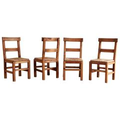 Set of Four French Dining Chairs with Rush Seat