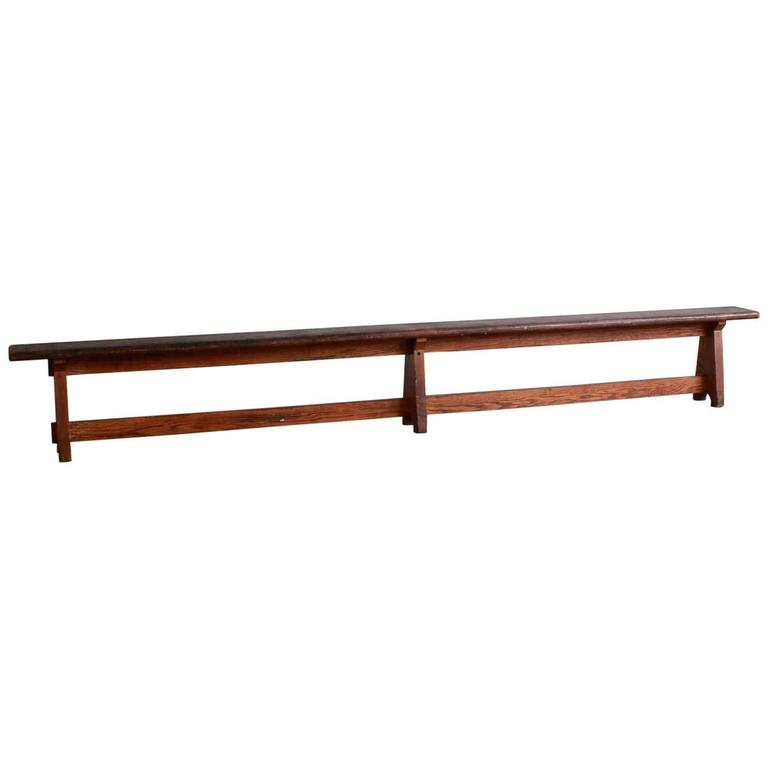 Long Rustic Bench with Middle Leg For Sale