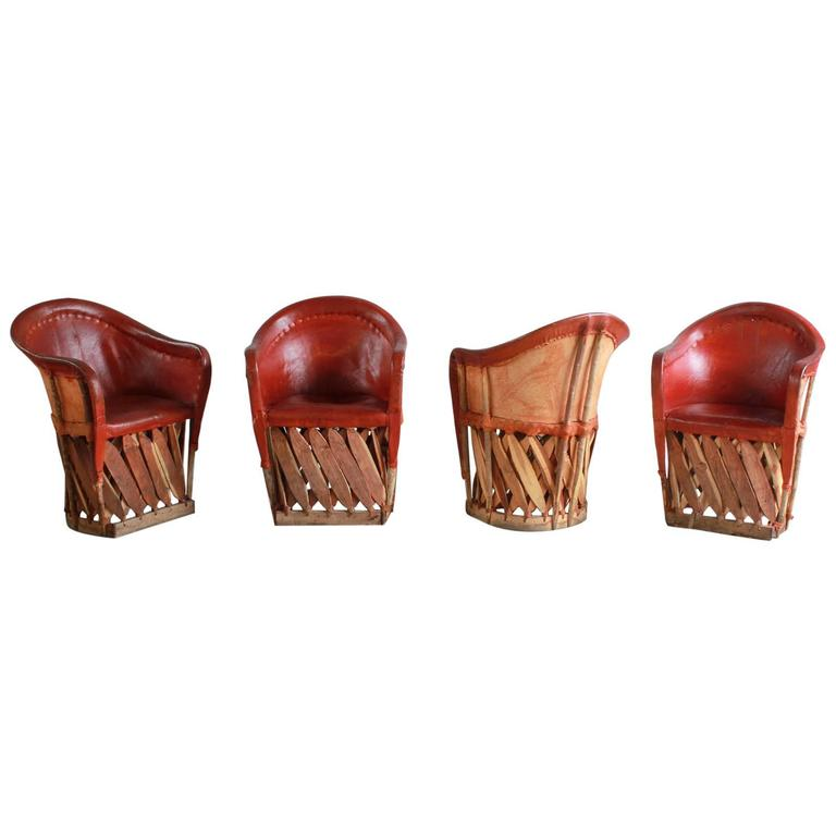 Set of Four Mexican Equipale Wood and Leather Chairs 1