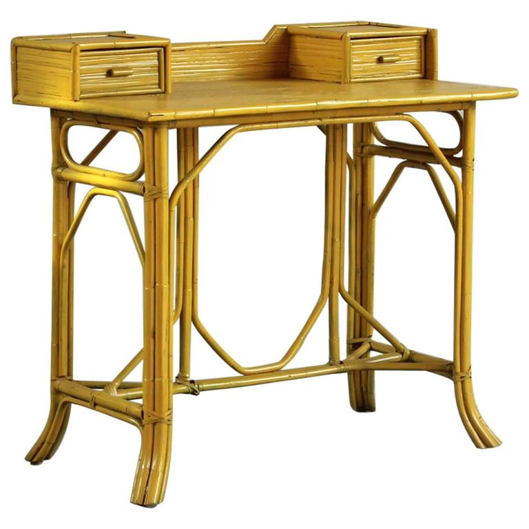 Yellow Painted Bamboo Writing Desk For Sale
