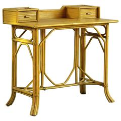 Yellow Painted Bamboo Writing Desk