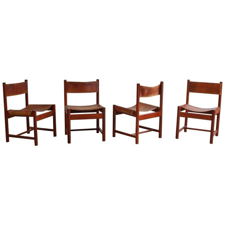 Set of Four Leather and Wood Michel Arnoult Dining Chairs 1