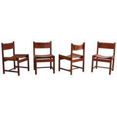 Set of Four Leather and Wood Michel Arnoult Dining Chairs
