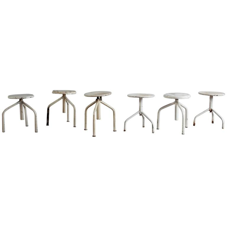 White Painted Wood and Metal Swivel Stools For Sale