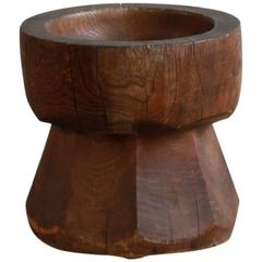 Large Solid Wood Mortar