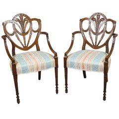 Pair of Edwardian Finely Carved Mahogany Armchairs