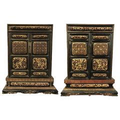 Pair of Miniature Antique Chinese Hand-Carved Cabinets