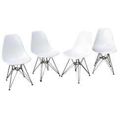 Eames Shell Chairs with Chrome Eiffel Tower Bases Midcentury