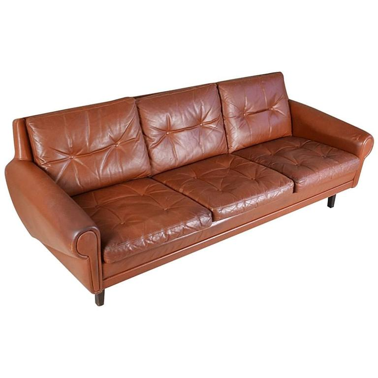 ... -Century Skippers of Mobler Three-Seat Brown Leather Sofa at 1stdibs