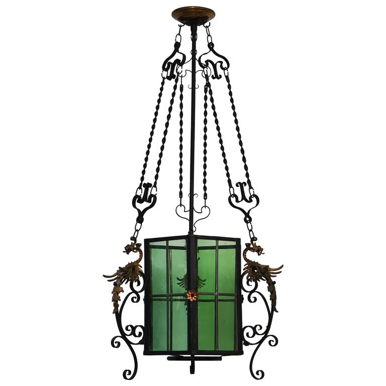 Wrought Iron Lantern Light Fixture For Sale
