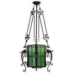 Wrought Iron Lantern Light Fixture