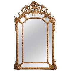 Mid-19th Century French Louis XV Carved Giltwood Wall Hanging Parclose Mirror