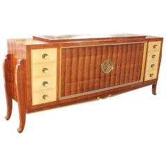 Spectacular French Art Deco Sideboard Exotic Palisander with Center Bonze Plaque
