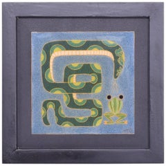 Modern Art Work Frog and Snake Enamel Style