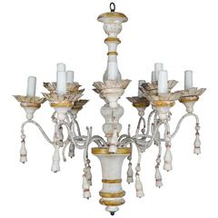 Twelve-Light Italian Wood Painted and Iron Chandelier