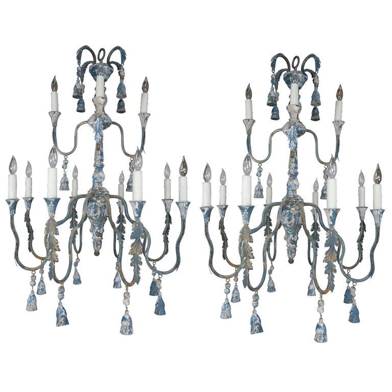 Twelve-Light Two-Tier Wood Tassel Chandeliers, Pair