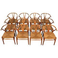 Amazing Set of 12 Hans Wegner Wishbone Chairs