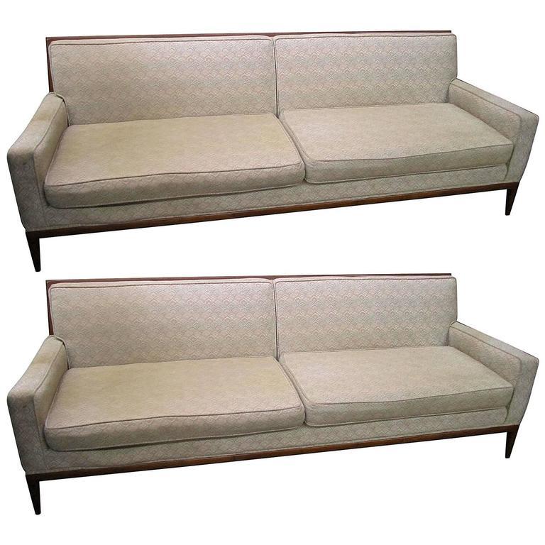 Pair Of T.H. Robsjohn-Gibbings Style Walnut Framed Sofas, Mid-Century  Modern 1