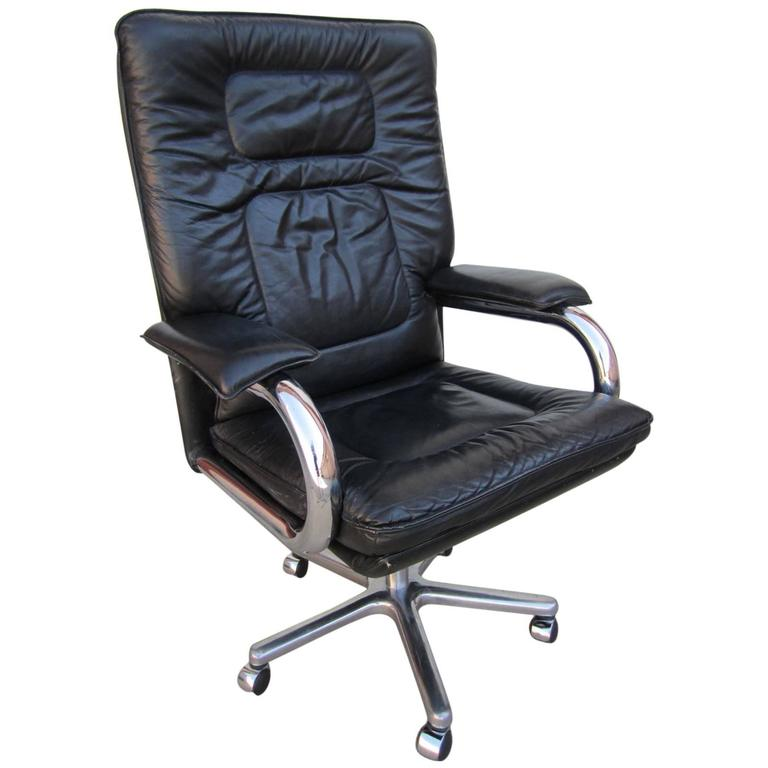 pace collection mariani leather chrome rolling desk chair mid