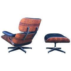 Incredible Eames Lounge Chair and Ottoman with Immaculate Leather