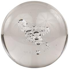 French Mid-Century Modern Glass Controlled Bubble Paperweight by Schneider