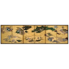 Japanese Screen Painting, Circa 1700 'Tales of Ise' by Tosa Mitsusuke