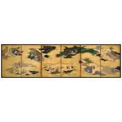 "Tosa Mitsusuke (1675-1710) ""Tales of Ise"" Japanese Folding Screen Painting"