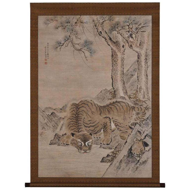 Antique Japanese Scroll: Kishi Ganku 1788, Tiger And Magpie, Japanese Scroll