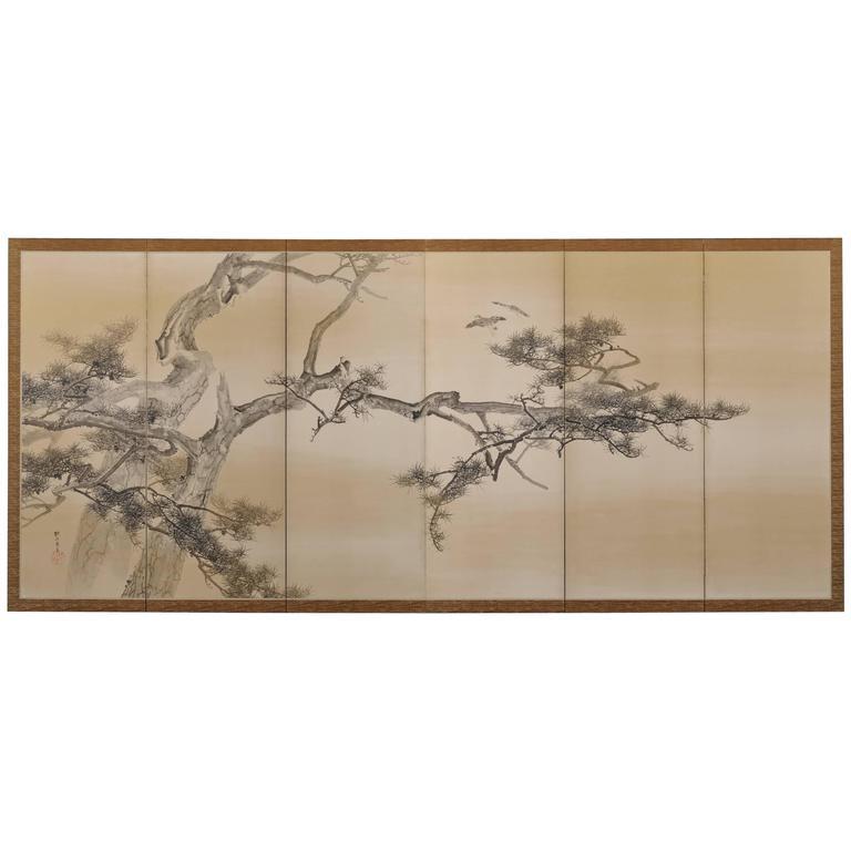 Konoshima Okoku (1877-1938), Pine and Plover, Japanese Folding Screen