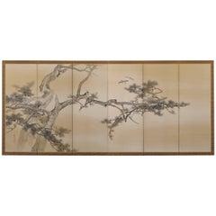 Japanese Screen Painting, Circa 1900, Pine Tree & Plovers by Konoshima Okoku
