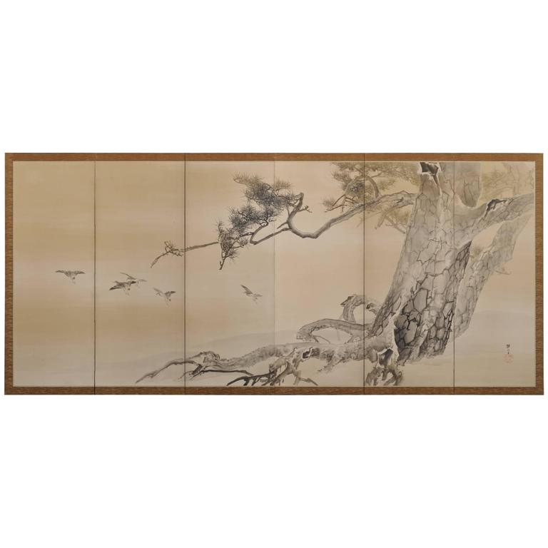 Konoshima Okoku (1877-1938), Pine & Plover, Japanese Folding Screen 1
