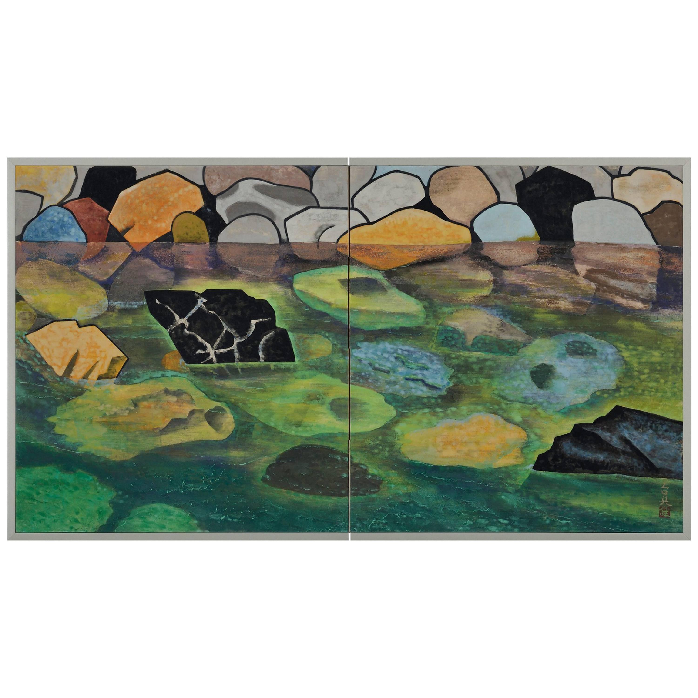 Japanese Screen Painting, Mid 20th Century, River Landscape by Hamada Taiji