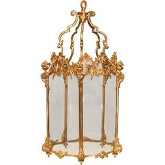 Mid-19th Century Gilt Brass Five-Sided Lantern