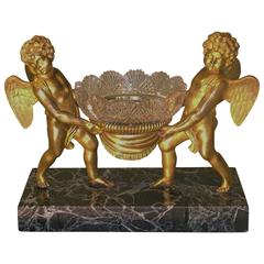 Attractive 19th Century French Ormolu, Marble and Glass Bowl