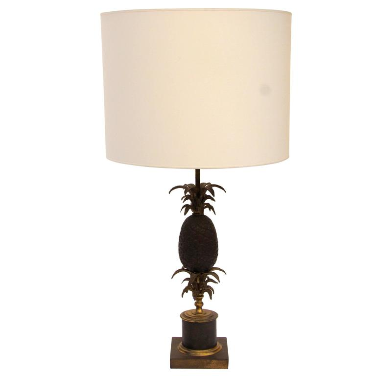 Pineapple Bronze Table Lamp by Maison Charles, circa 1960, France