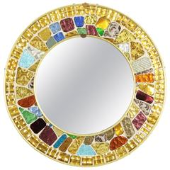 Mid-Century Modern Multi-Color Mirrored Glass Mosaic Circular Mirror