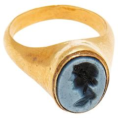 Ancient Roman Gold Ring, Nicolo Intaglio