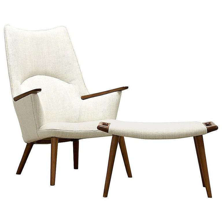 Hans J. Wegner Chair and Ottoman, Model AP-27, 1950s