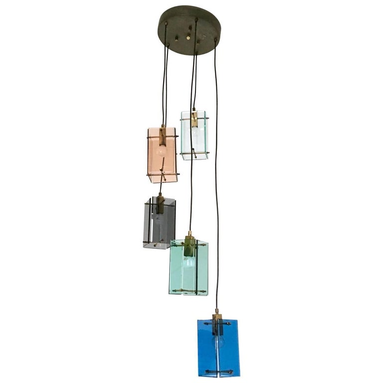 Italian Five-Light Pendant in the Style of Fontana Arte, 1960s For Sale