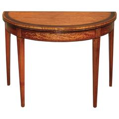18th Century Satinwood Half-Round Card Table